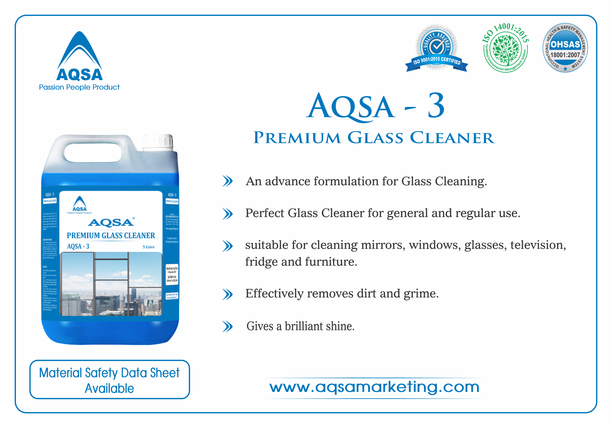 Premium Glass Cleaner AQSA-3 image