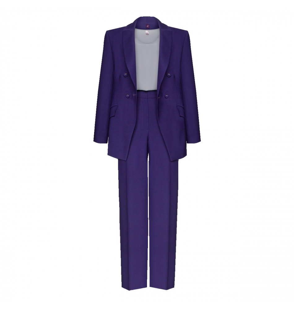Stylish trouser suit with a double-breasted jacket image