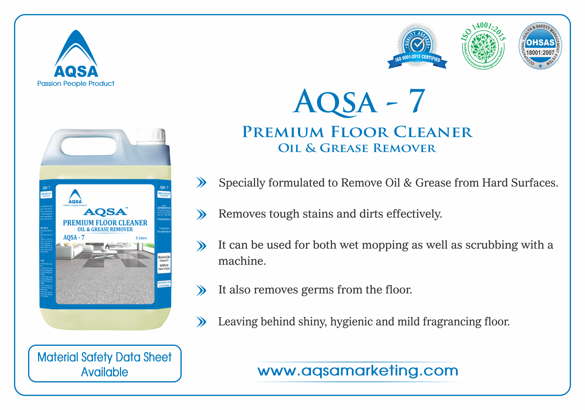 Premium Floor Cleaner Oil and  Grease Remover AQSA-7 image