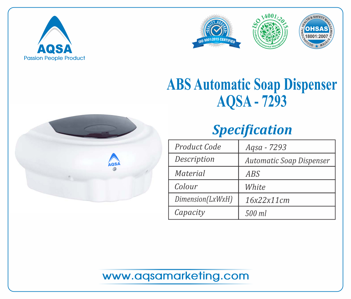 ABS Automatic Soap Dispenser 500ml AQSA-7293 image