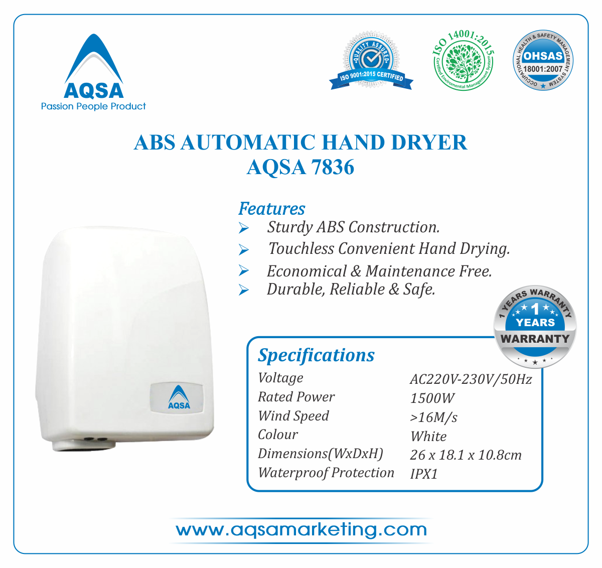 ABS Automatic Hand Dryer AQSA-7836 image