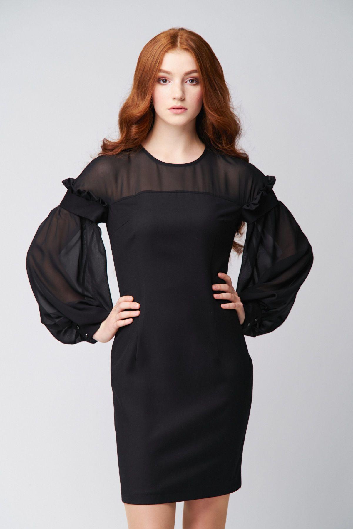 GANVERI Women's Dress with Transparent Yoke, Black image