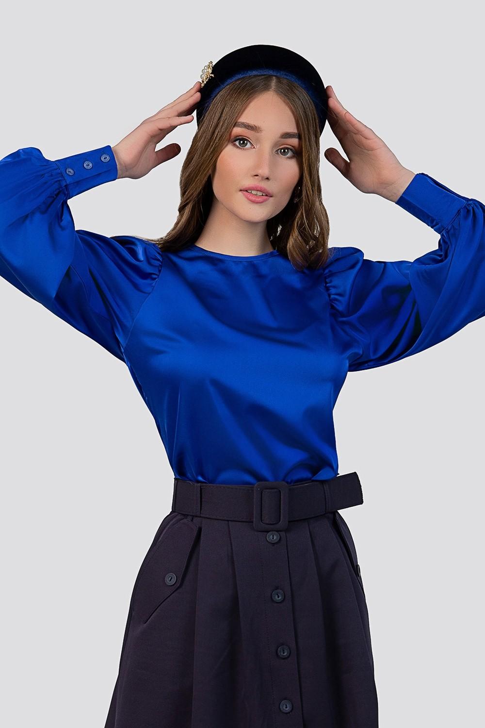 Puff shoulder silk blouse image