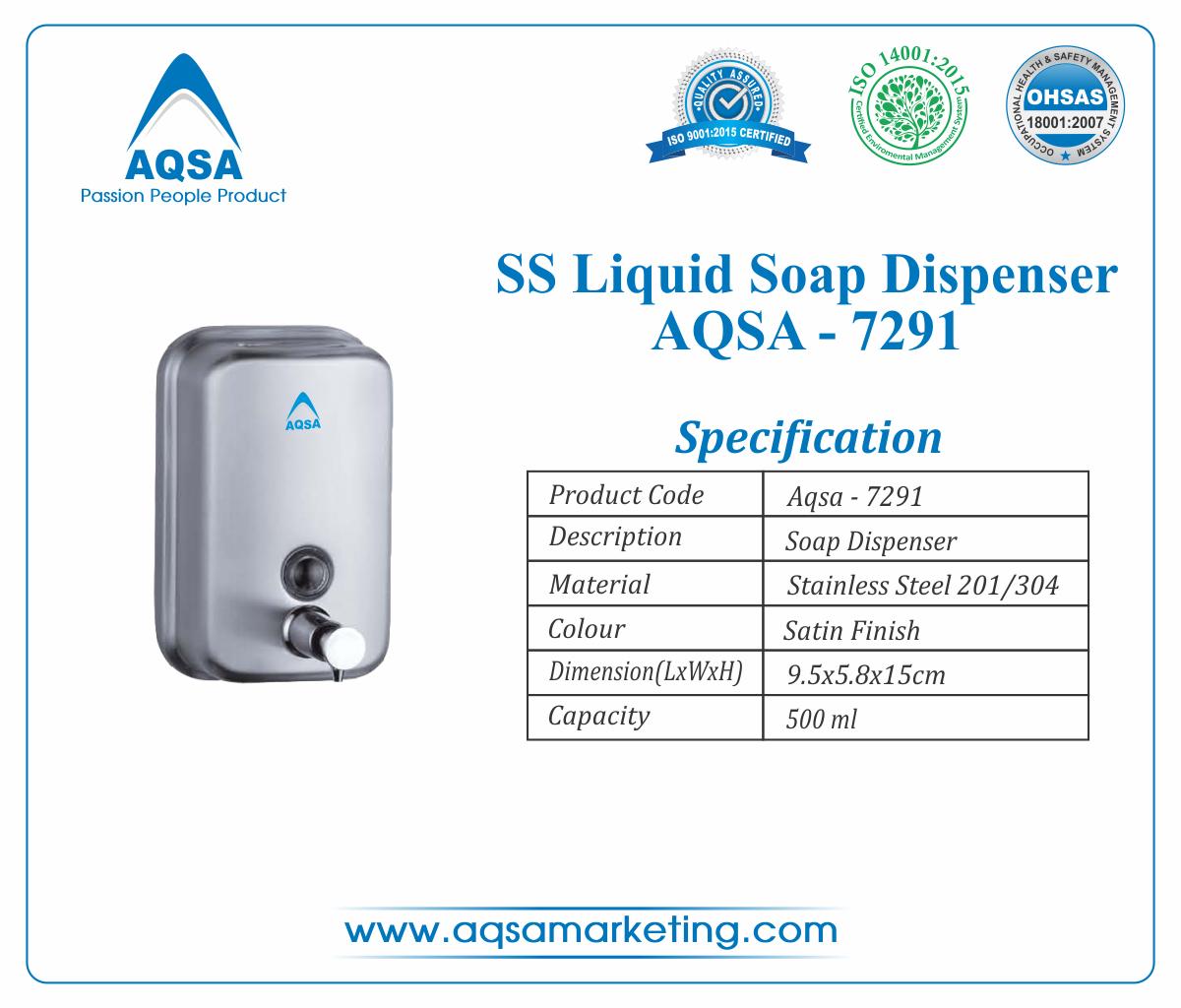 SS Soap Dispenser 500 ml AQSA-7291 image