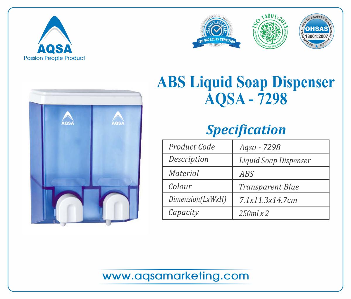 Blue ABS Soap Dispenser  250ml x 2 AQSA-7298 image