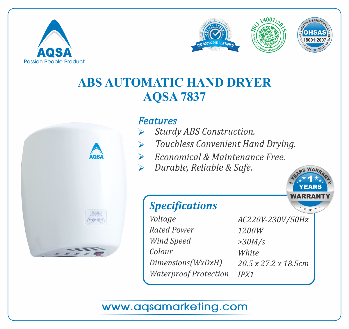 ABS Automatic Hand Dryer AQSA-7837 image