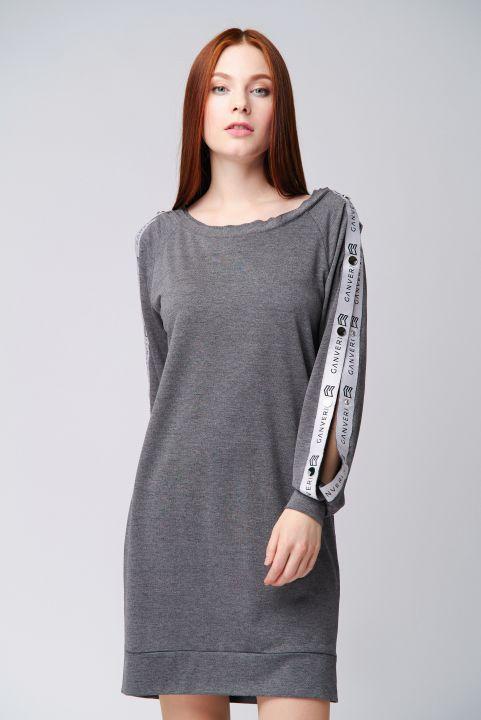 GANVERI Women's Raglan Dress with Buttons, Long Sleeve, Gray image