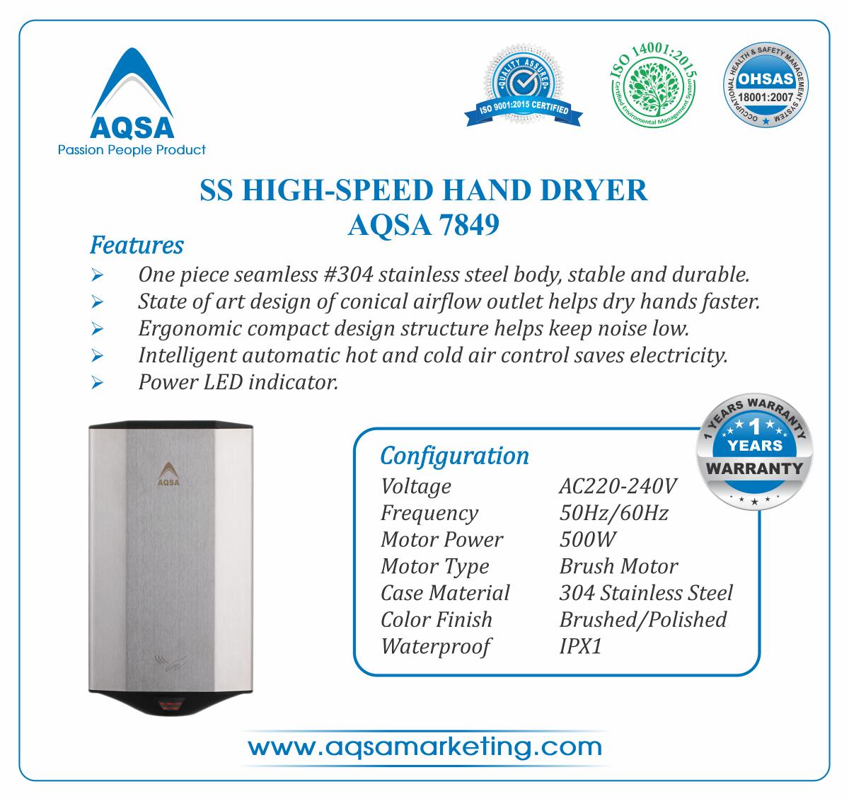 SS High-Speed Hand Dryer AQSA-7849 image