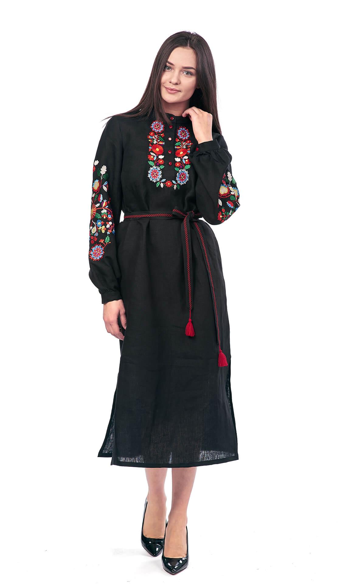 Edelvika Women's Embroidered Floral Dress, Black, Long Sleeves, 100% Linen image