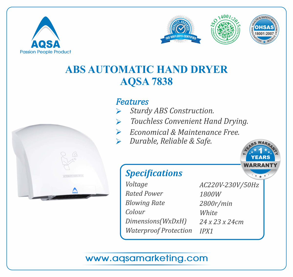 ABS Automatic Hand Dryer AQSA-7838 image
