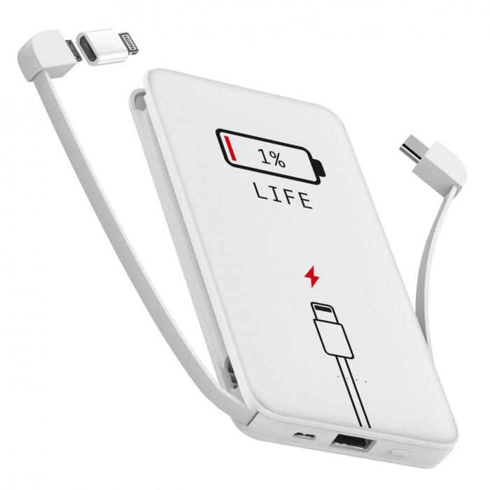 1% LIFE ZIZ Power Bank Universal Portable Charger, Micro USB, 10,000 mAh image
