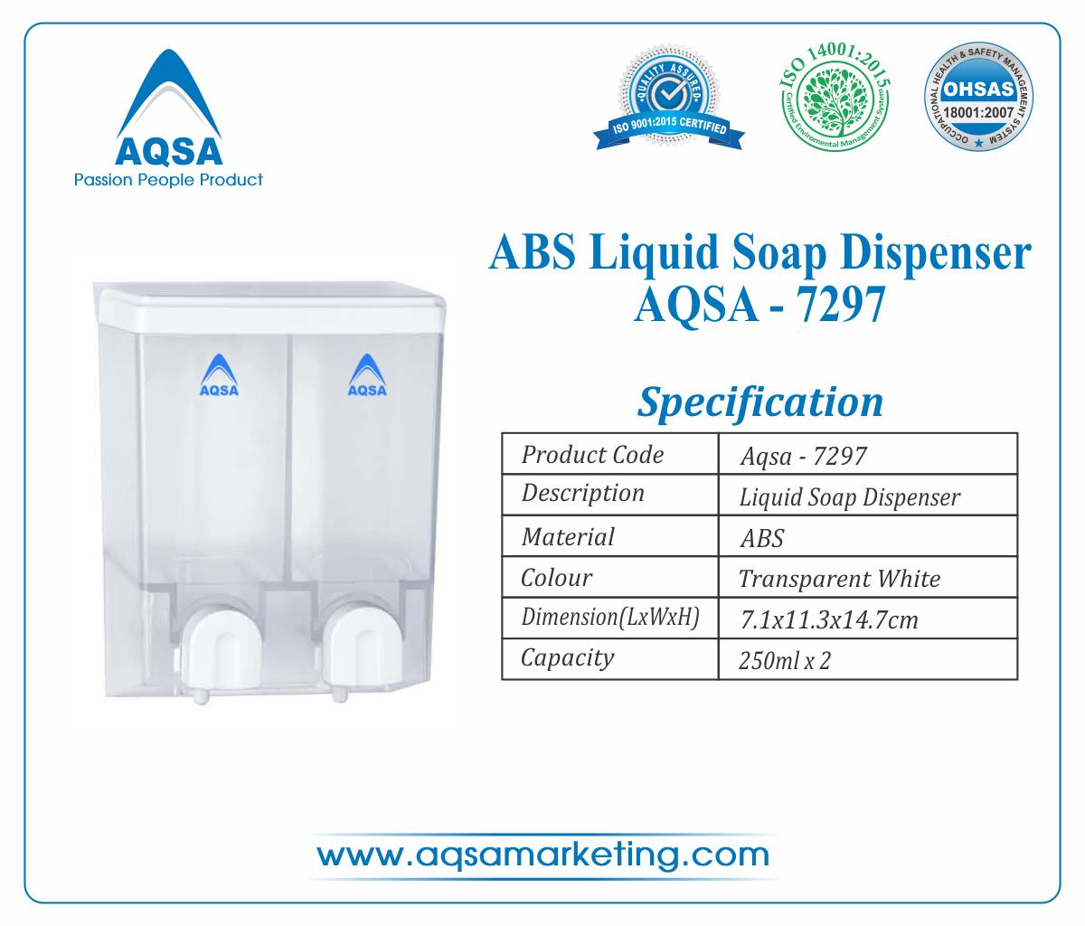 ABS Soap Dispenser 250ml x 2 AQSA-7297 image